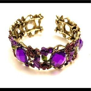 Purple gold rhinestone bracelet